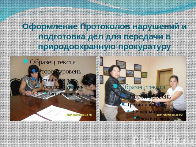 Оформление Протоколов нарушений и подготовка дел для передачи в природоохранную прокуратуру