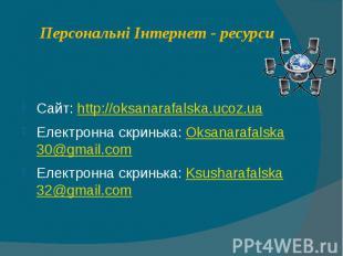 Персональні Інтернет - ресурси Сайт: http://oksanarafalska.ucoz.ua Електронна ск