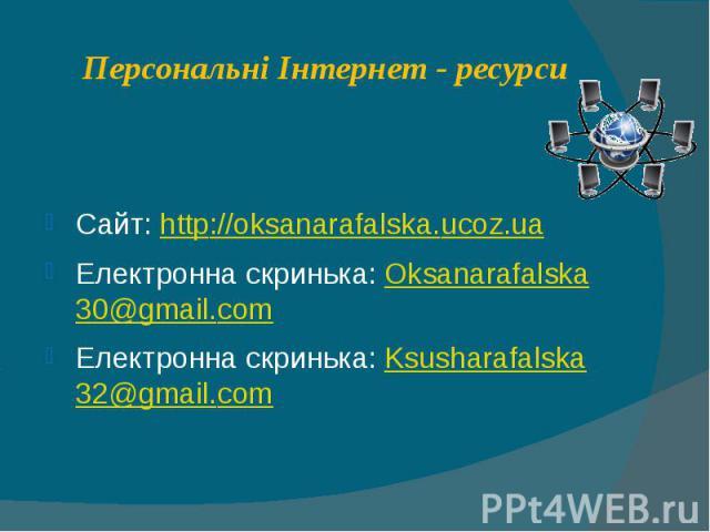 Персональні Інтернет - ресурси Сайт: http://oksanarafalska.ucoz.ua Електронна скринька: Oksanarafalska30@gmail.com Електронна скринька: Ksusharafalska32@gmail.com