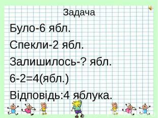 Задача Було-6 ябл. Спекли-2 ябл. Залишилось-? ябл. 6-2=4(ябл.) Відповідь:4 яблук