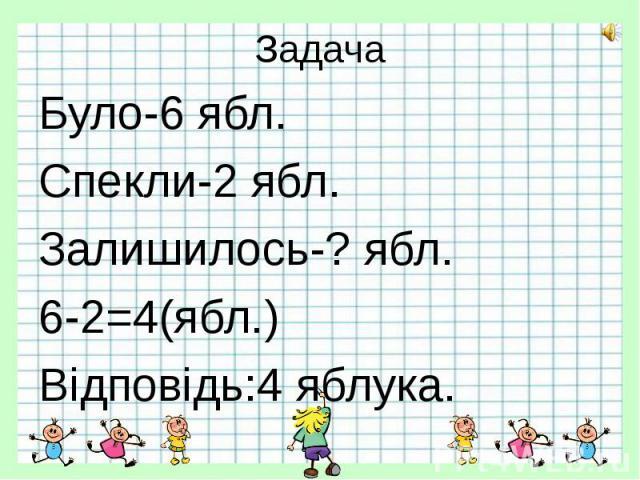 Задача Було-6 ябл. Спекли-2 ябл. Залишилось-? ябл. 6-2=4(ябл.) Відповідь:4 яблука.