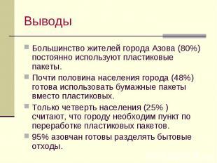 Выводы Большинство жителей города Азова (80%) постоянно используют пластиковые п