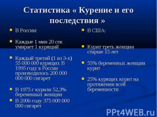 Статистика « Курение и его последствия » В России: Каждые 1 мин 20 сек умирает 1