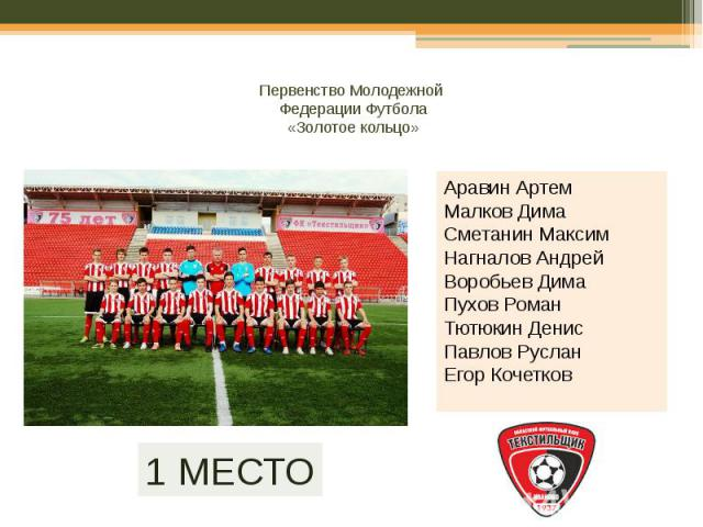 Первенство Молодежной Федерации Футбола «Золотое кольцо»