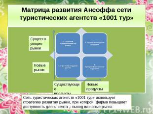 Матрица развития Ансоффа сети туристических агентств «1001 тур»
