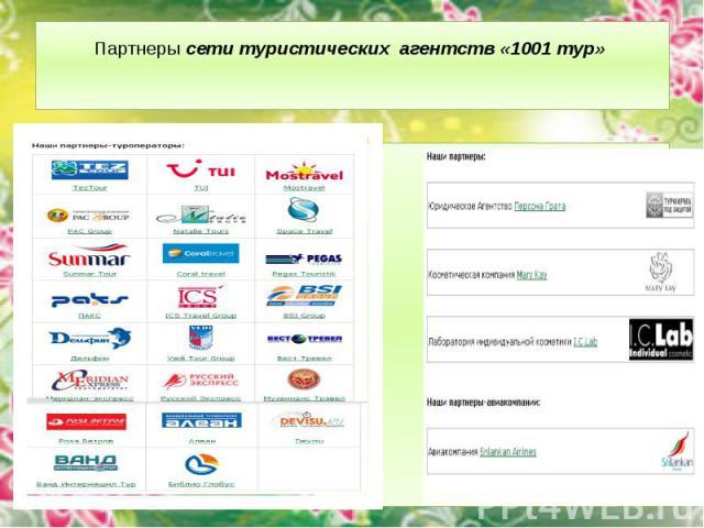 Партнеры сети туристических агентств «1001 тур»