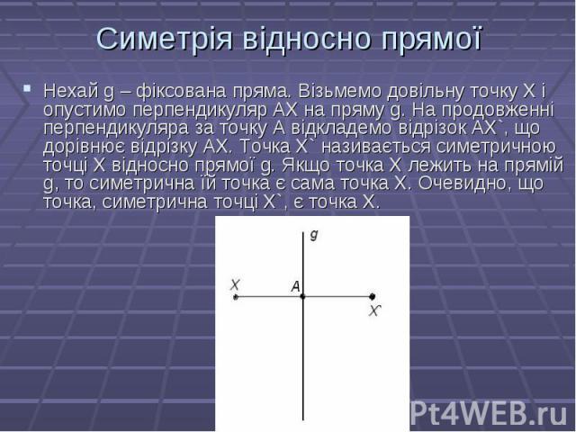 Нехай g – фіксована пряма. Візьмемо довільну точку Х і опустимо перпендикуляр АХ на пряму g. На продовженні перпендикуляра за точку А відкладемо відрізок AX`, що дорівнює відрізку АХ. Точка X` називається симетричною точці Х відносно прямої g. Якщо …
