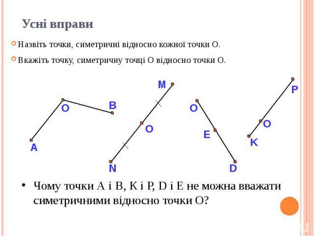 Усні вправи Назвіть точки, симетричні відносно кожної точки О. Вкажіть точку, симетричну точці О відносно точки О.