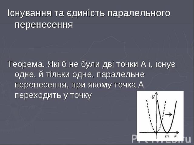 Існування та єдиність паралельного перенесення Існування та єдиність паралельного перенесення Теорема. Які б не були дві точки А і, існує одне, й тільки одне, паралельне перенесення, при якому точка А переходить у точку