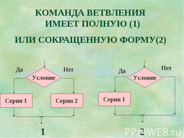 КОМАНДА ВЕТВЛЕНИЯ ИМЕЕТ ПОЛНУЮ (1)