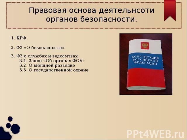 Правовая основа деятельнсоти органов безопасности.