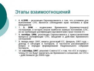 Этапы взаимоотношений 6. 4.1995 – резолюция Европарламента о том, что условием д