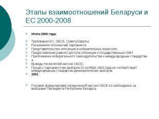 Этапы взаимоотношений Беларуси и ЕС 2000-2008 Итоги 2000 года: Требования ЕС, ОБ