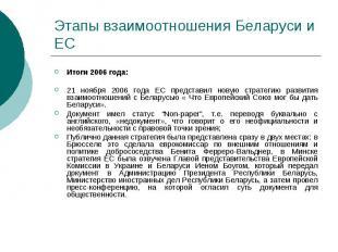 Этапы взаимоотношения Беларуси и ЕС Итоги 2006 года: 21 ноября 2006 года ЕС пред