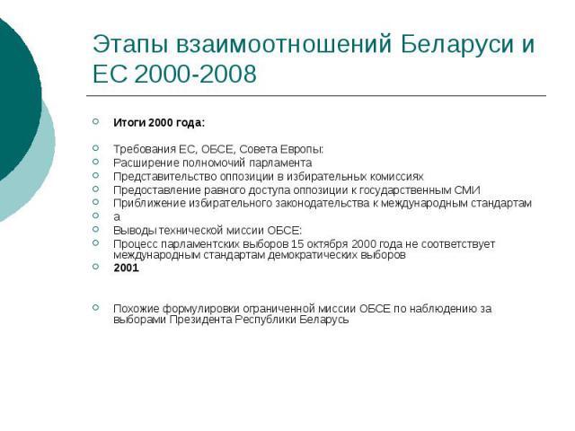 Этапы взаимоотношений Беларуси и ЕС 2000-2008 Итоги 2000 года: Требования ЕС, ОБСЕ, Совета Европы: Расширение полномочий парламента Представительство оппозиции в избирательных комиссиях Предоставление равного доступа оппозиции к государственным СМИ …