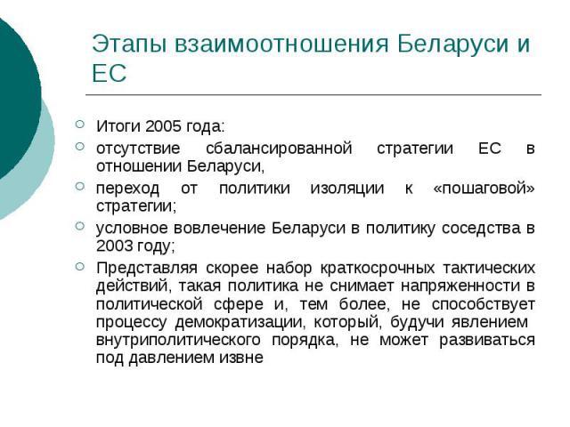 Этапы взаимоотношения Беларуси и ЕС Итоги 2005 года: отсутствие сбалансированной стратегии ЕС в отношении Беларуси, переход от политики изоляции к «пошаговой» стратегии; условное вовлечение Беларуси в политику соседства в 2003 году; Представляя скор…