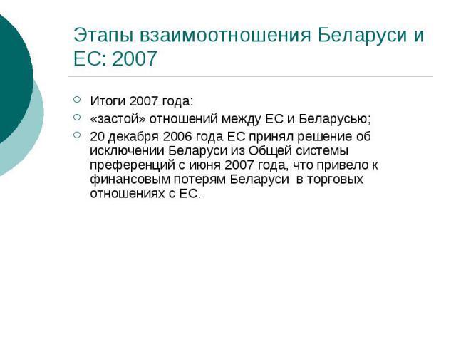 Этапы взаимоотношения Беларуси и ЕС: 2007 Итоги 2007 года: «застой» отношений между ЕС и Беларусью; 20 декабря 2006 года ЕС принял решение об исключении Беларуси из Общей системы преференций с июня 2007 года, что привело к финансовым потерям Беларус…