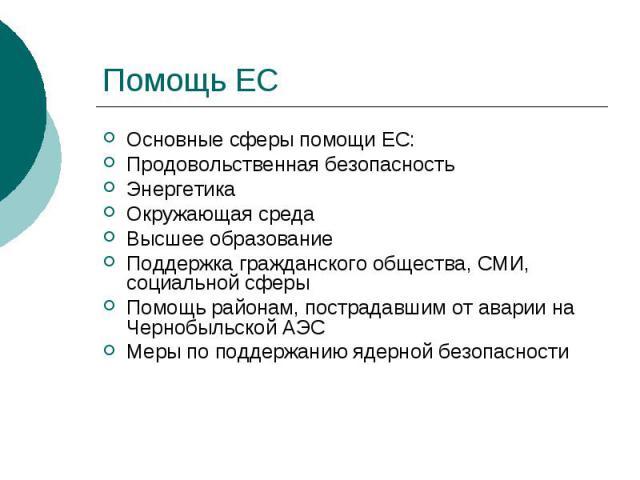 Помощь ЕС Основные сферы помощи ЕС: Продовольственная безопасность Энергетика Окружающая среда Высшее образование Поддержка гражданского общества, СМИ, социальной сферы Помощь районам, пострадавшим от аварии на Чернобыльской АЭС Меры по поддержанию …