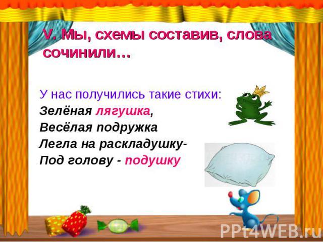 У нас получились такие стихи: У нас получились такие стихи: Зелёная лягушка, Весёлая подружка Легла на раскладушку- Под голову - подушку
