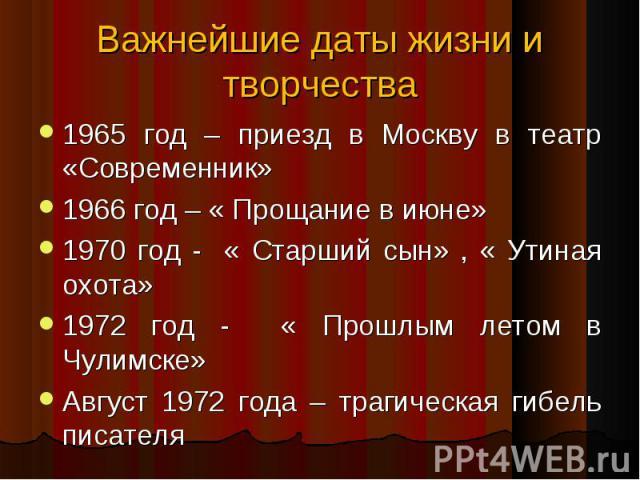 1965 год – приезд в Москву в театр «Современник» 1965 год – приезд в Москву в театр «Современник» 1966 год – « Прощание в июне» 1970 год - « Старший сын» , « Утиная охота» 1972 год - « Прошлым летом в Чулимске» Август 1972 года – трагическая гибель …