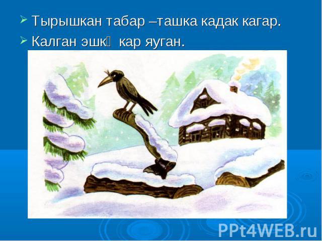 Тырышкан табар –ташка кадак кагар. Тырышкан табар –ташка кадак кагар. Калган эшкә кар яуган.