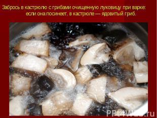 Забрось в кастрюлю с грибами очищеннуюлуковицупри варке: если она по
