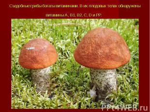 Съедобные грибы богаты витаминами. В их плодовых телах обнаружены витамины А, В1