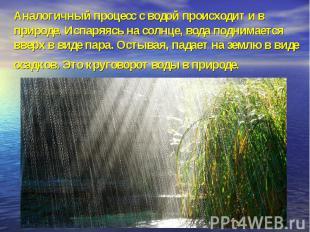 Аналогичный процесс с водой происходит и в природе. Испаряясь на солнце, вода по