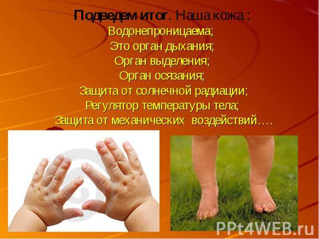 Подведем итог. Наша кожа :Водонепроницаема; Это орган дыхания; Орган выделения; Орган осязания; Защита от солнечной радиации; Регулятор температуры тела; Защита от механических воздействий….
