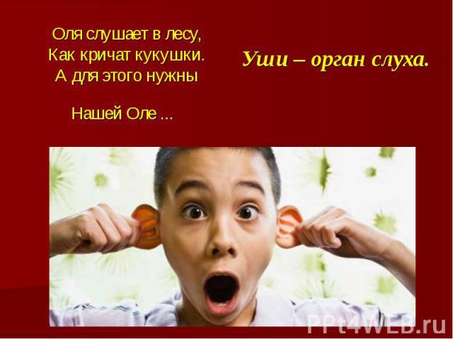 Оля слушает в лесу,Как кричат кукушки.А для этого нужныНашей Оле ... Уши – орган слуха.