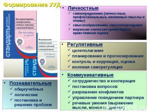 Формирование УУДЛичностныесамоопределение (личностные, профессиональные, жизненн