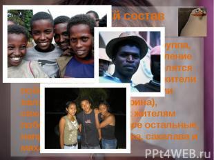 Этнический состав Малагасийцы— этническая группа, формирующая основное нас