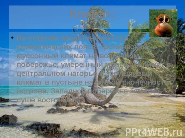 Климат: На острове представлены три климатических пояса: тропический муссонный климат на восточном побережье, умеренный морской климат в центральном нагорье и засушливый климат в пустыне на южной оконечности острова. Западное побережье заметно суше …