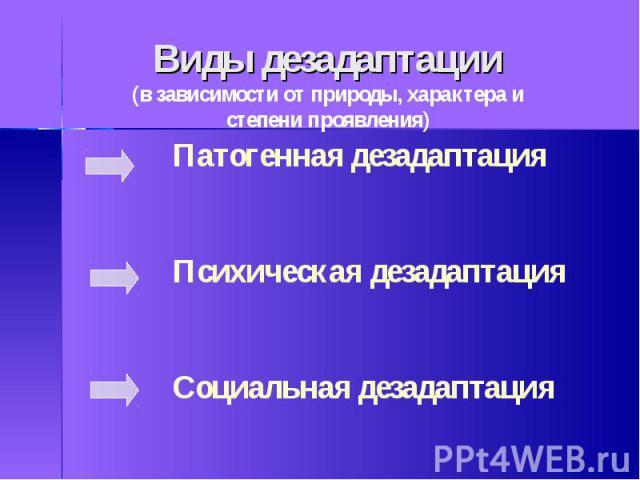 Виды дезадаптации(в зависимости от природы, характера и степени проявления)Патогенная дезадаптацияПсихическая дезадаптацияСоциальная дезадаптация