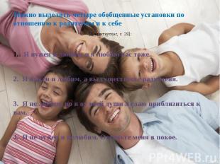 Можно выделить четыре обобщенные установки по отношению к родителям и к себе Мож