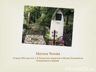 Могила Чехова 22 июля 1904 года тело А.П.Чехова было перевезено в Москву. Похоро