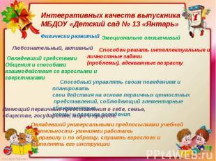 Интегративных качеств выпускника МБДОУ «Детский сад № 13 «Янтарь»   Способный