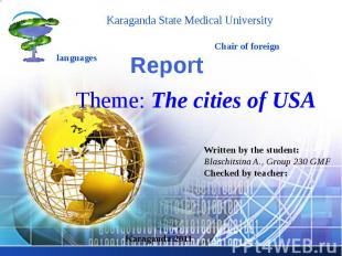 Report Theme: The cities of USA