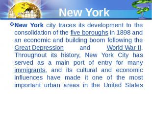 New York New York city traces its development to the consolidation of the five b