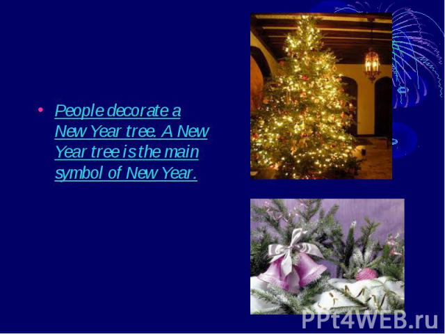 People decorate a New Year tree. A New Year tree is the main symbol of New Year. People decorate a New Year tree. A New Year tree is the main symbol of New Year.