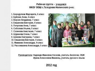 Рабочая группа - учащиеся МКОУ ООШ с.Татаурово Нолинского р-на:1. Бородулина Мар