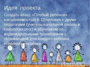 Идея проекта Создать класс «Особый ребенок» наполняемостью 8-12 человек с двумя