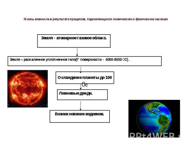 Жизнь возникла в результате процессов, подчиняющихся химическим и физическим законам