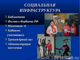 Библиотека Библиотека Филиал сбербанка РФ Магазинов -6 Кабинет участкового Трена