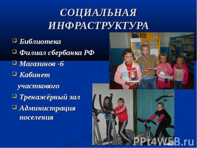 Библиотека Библиотека Филиал сбербанка РФ Магазинов -6 Кабинет участкового Тренажёрный зал Администрация поселения