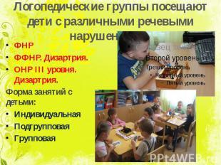 Логопедические группы посещают дети с различными речевыми нарушениями: ФНР ФФНР.
