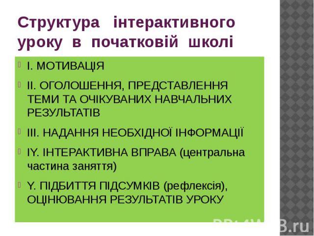 Структура інтерактивного уроку в початковій школі І. МОТИВАЦІЯ ІІ. ОГОЛОШЕННЯ, ПРЕДСТАВЛЕННЯ ТЕМИ ТА ОЧІКУВАНИХ НАВЧАЛЬНИХ РЕЗУЛЬТАТІВ ІІІ. НАДАННЯ НЕОБХІДНОЇ ІНФОРМАЦІЇ ІY. ІНТЕРАКТИВНА ВПРАВА (центральна частина заняття) Y. ПІДБИТТЯ ПІДСУМКІВ (реф…