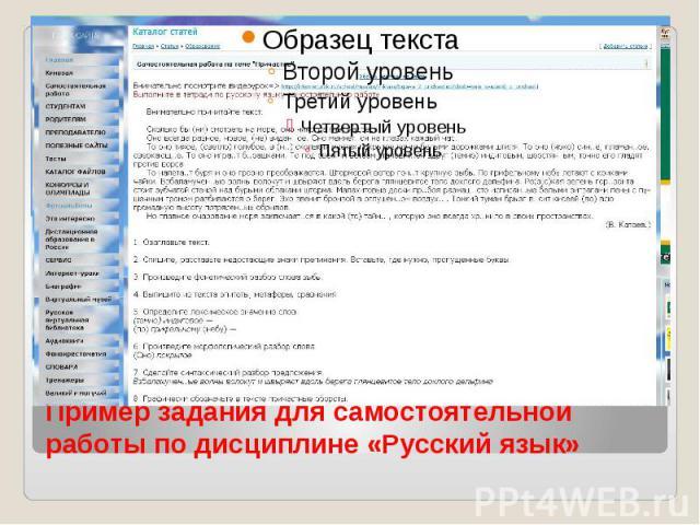 Пример задания для самостоятельной работы по дисциплине «Русский язык»