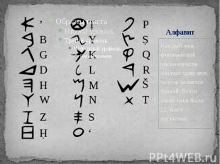 Алфавит Каждый знак финикийской письменности означал один звук, то есть является