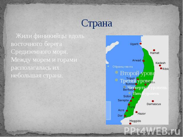 Страна Жили финикийцы вдоль восточного берега Средиземного моря. Между морем и горами располагалась их небольшая страна.